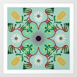 Mandala - Australian native plants Art Print