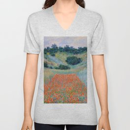Poppy Field in a Hollow near Giverny Claude Monet Unisex V-Neck
