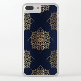 Gold and Navy Damask Clear iPhone Case