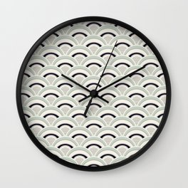 Japanese Seigaiha Wave in neutral pastel colors Wall Clock