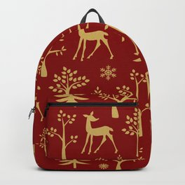 Gold trees and deer  Backpack