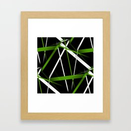 Seamless Grass Green and White Stripes on A Black Background Framed Art Print
