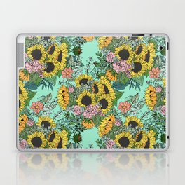 Trendy yellow sunflowers and pink roses mint design Laptop & iPad Skin