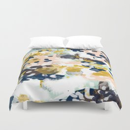 Sloane - Abstract painting in modern fresh colors navy, mint, blush, cream, white, and gold Duvet Cover