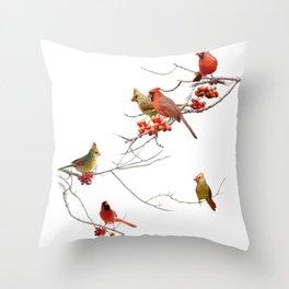 Perching Cardinals Throw Pillow