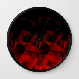 Abstract polygonal pattern .Red, black triangles. Wall Clock