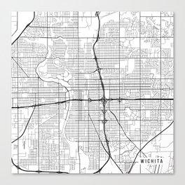 Wichita Map, USA - Black and White Canvas Print