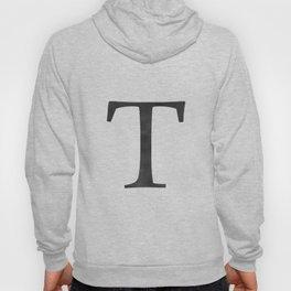 Letter T Initial Monogram Black and White Hoody