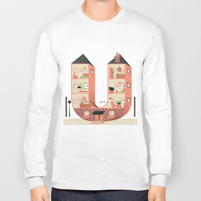 Letter U Long Sleeve T-shirt