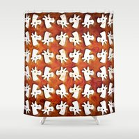 unicorns Shower Curtains featuring Marshmallow Unicorns by That's So Unicorny
