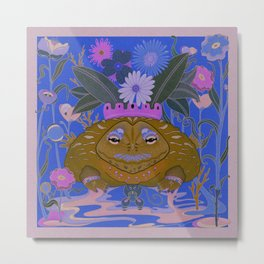 The Bull frog and the mouse fantasy  Metal Print