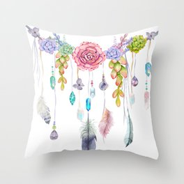 Spirit Gazer With Crystals And Succulents Throw Pillow