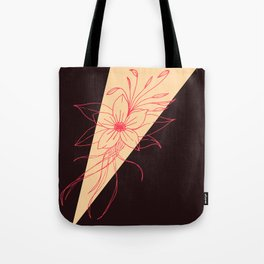 Modern Peach, Coral, and Black Floral Triangles Tote Bag