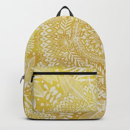 Medallion Pattern in Mustard and Cream Backpack
