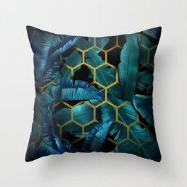 tropical banana leaves geometry Throw Pillow