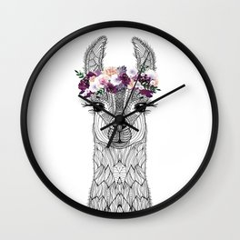 FLOWER GIRL ALPACA Wall Clock