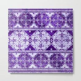 nordic tile star in purple Metal Print