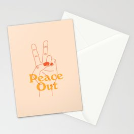 Peace Out- Line Style Hand Stationery Cards