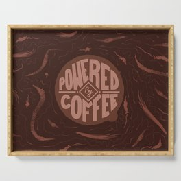 powered by coffee and swirls Serving Tray