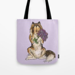 Collie with Flowers Tote Bag