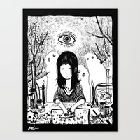 ouija Canvas Prints featuring Ouija by Rachel Star Art