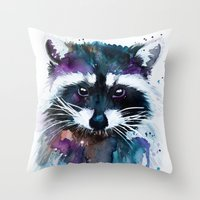 raccoon Throw Pillows featuring Raccoon by Slaveika Aladjova