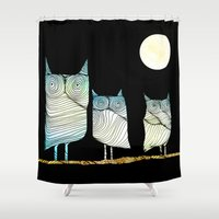 owls Shower Curtains featuring Owls by Brontosaurus