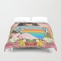 erotic Duvet Covers featuring Internal Rainbow II by Mariano Peccinetti
