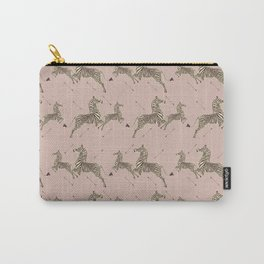 Royal Tenenbaums Zebra Wallpaper - Dusty Pink Carry-All Pouch