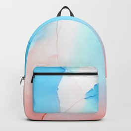 Peach and sky blue Abstract fluid ink Backpack