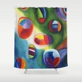 floating circles Shower Curtain