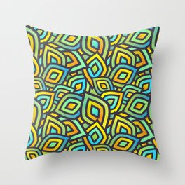 Abstract Coorful Mix Pattern. Green, Blue and Orange Shapes Throw Pillow