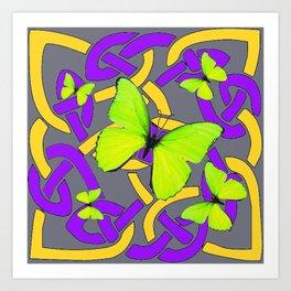 Lime Yellow Butterflies Purple-grey-gold Celtic Art Art Print