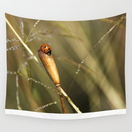 Morning Dew On Lady Bird Wall Tapestry