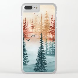 """""""Tri-color Forest"""" landscape watercolor painting Clear iPhone Case"""
