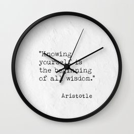 Knowing yourself is.. quote Aristotle Wall Clock