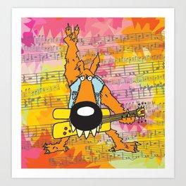 Rocker Wolf  Art Print