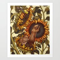 autumn Art Prints featuring Autumn by Kate O'Hara Illustration