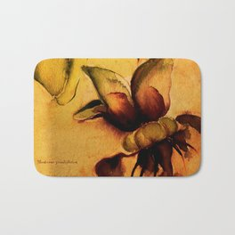 Cupuaçu flower watercolor - Brazilian tropical fruit Bath Mat