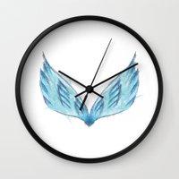 angel wings Wall Clocks featuring Angel Wings by eARTh