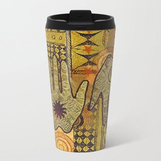 African Ethno Pattern Hand Symbol Metal Travel Mug