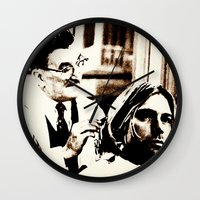 floyd Wall Clocks featuring Kurt & Floyd  |  Grunge Collage by Silvio Ledbetter