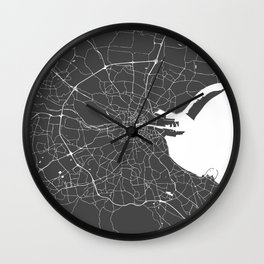 Dublin Street Map Gray and White Wall Clock
