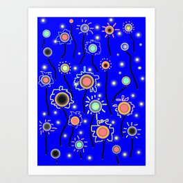 ABSTRACT STARRY LIGHTS ON BRILLIANT BLUE Art Print