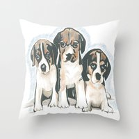 puppies Throw Pillows featuring Puppies 1 by JennFolds5 * Jennifer Delamar-Goss