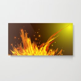 A bonfire with tongues of flame and sparks for the design of summer night ideas. For postcards and f Metal Print