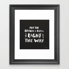 Burned Bridges – Black & White Framed Art Print