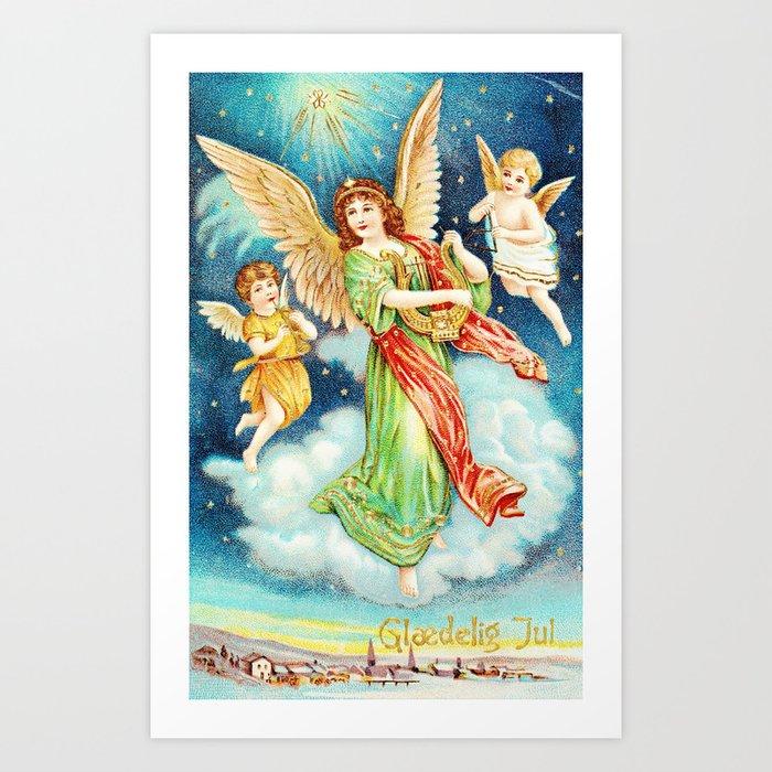 Christmas Angels.Vintage Christmas Angels 1913 Art Print By Vintageby2sweet