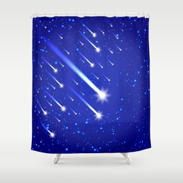 Space background with stars and comets Shower Curtain