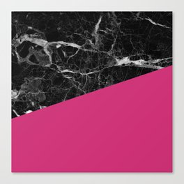 Black Marble and Pink Yarrow Color Canvas Print
